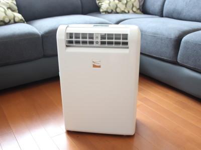 三菱電機の衣類乾燥除湿機「MJ-M120PX」。除湿方式はコンプレッサー式で、1日に11/12Lとたっぷり除湿します
