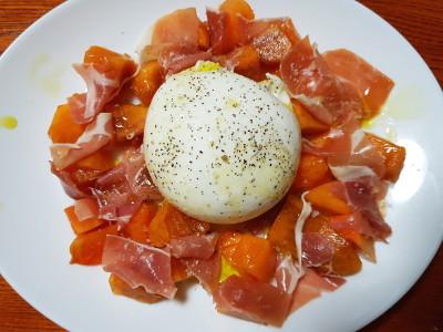 ブッラータと柿と生ハム
