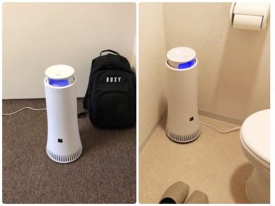 空気清浄機とは違って軽いので、使いたい場所に移動して使えます。スリムなのでトイレにも難なく置けました