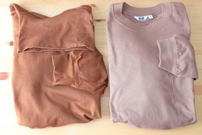 左が昨年発売された秋冬のタートルネックTシャツ